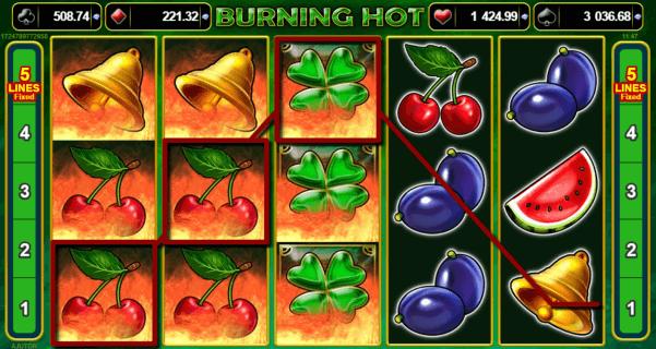 Burning Hot cu Fructe si Trifoi - Jocuri Aparate Pacanele